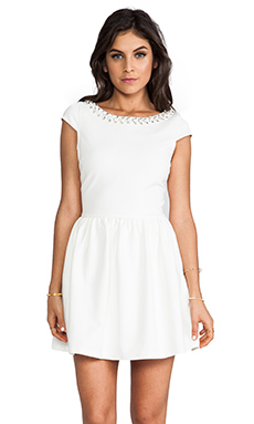 Line & Dot Holiday Dress in White