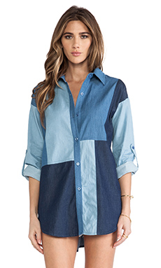 Line & Dot Mixed Media Shirt Dress in Mixed Denim