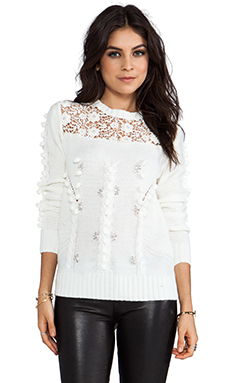 Line & Dot Prairie Embellished Sweater in Vanilla