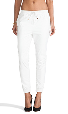 Line & Dot Faux Leather Trackies in White