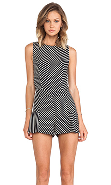 Line & Dot Gwen Romper in Graphite Stripe