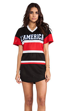 L'AMERICA Dream Team Over Sized Tee Dress in Black & Red