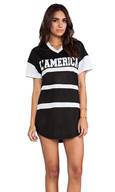 L'AMERICA Dream Team T-Shirt Dress in Black & White