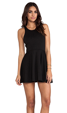 L'AMERICA Beach Club Fit & Flare Mini Dress in Black