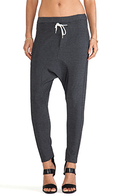 L'AMERICA Lounge Trackie Pant in Dark Grey Marle