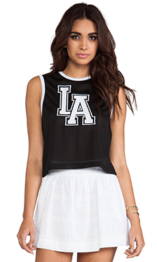 L'AMERICA Dream Team Crop Top in Black & White