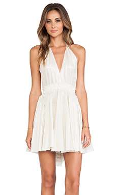 LoveShackFancy Halter Mini Dress in Taupe
