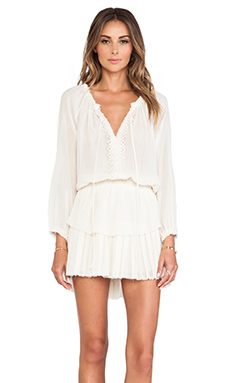LoveShackFancy Popover Ruffle Mini Dress in Ivory
