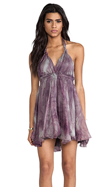 Love Shack Fancy Halter Mini Dress in Purple Haze Smoke