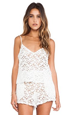 LoveShackFancy Lace Crop Cami in White