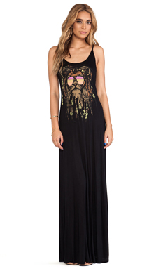 Lauren Moshi Lex Faded Rasta Lion Deep Back Maxi Dress in Black