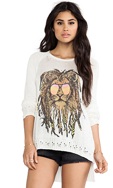 Lauren Moshi Helena Rasta Lion Sweater in White