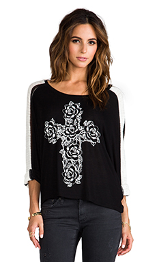 Lauren Moshi Nellie Rose Cross Sweater in Black/White Stripe