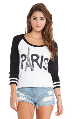 Lauren Moshi Addy Paris Tower Raglan Pullover in White & Black