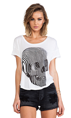 Lauren Moshi Audrey Swirl Skull Scoop Tee in White