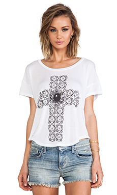 Lauren Moshi Audrey Diamond Cross Scoop Tee in White