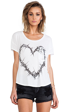 Lauren Moshi Pam Thorn Heart Scoop Tee in White
