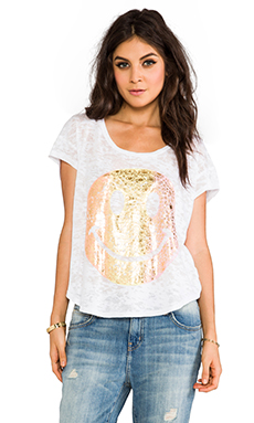 Lauren Moshi Audrey Color Foil Diamond Happyface Scoop Tee in White