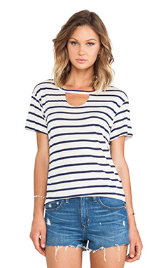 LNA Striped Mosshart Tee in Natural & Navy Stripe