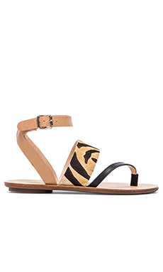 Loeffler Randall Sunny Sandal with Calf Fur in Zebra Mix