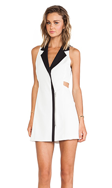 Lovers + Friends Tuxedo Dress en Blanc & Noir