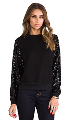Lovers + Friends Lover Sequin Pullover in Black