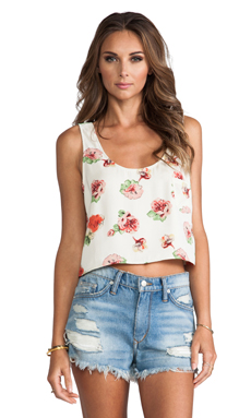 Lucca Couture Crop Tank Top in Ivory Floral