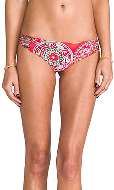 Luli Fama Azulejos del Mar Ruched Back Brazilian Bottom in Multicolor