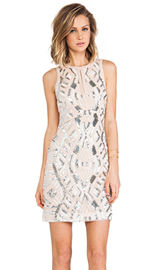 Lumier Tribal Treasures Body Con Dress in Pink & Nude