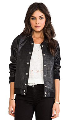 Luv AJ Bomber Jacket in Croc Embossed Lambskin