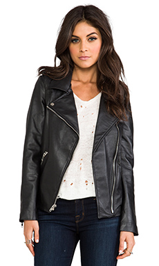 Luv AJ Leather Moto Jacket in Lambskin & Chrome