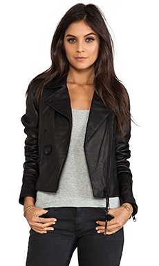 Mackage Izi Cow Milled Leather Jacket in Black