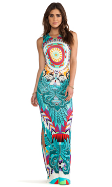 Mara Hoffman Fitted Column Dress in Jungle Trip Turquoise