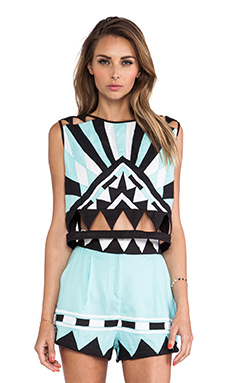 Mara Hoffman Applique Crop Top in Multi