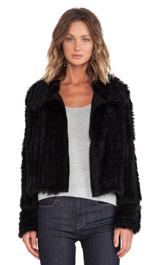 Marc by Marc Jacobs Abbey Rabbit Fur Jacket en Noir