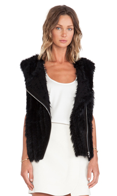Marc by Marc Jacobs Abbey Rabbit Fur Vest en Noir