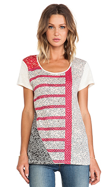 Marc by Marc Jacobs Prachi Patchwork Tee in Antique White Multi