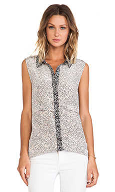 Marc by Marc Jacobs Karoo Print Button Down Tank in Antique White