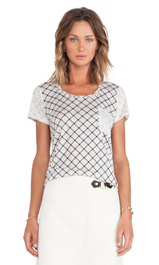 Marc by Marc Jacobs Charlene Printed Jersey Tee in Antique White Multi