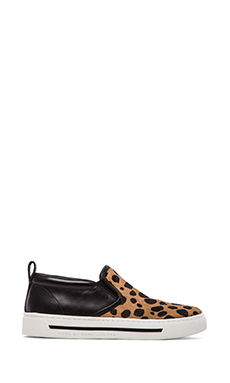 Marc by Marc Jacobs Cute Kicks 10mm Slip On Sneakers with Calf Fur in Tan Multi