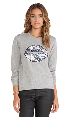 Markus Lupfer Lace Grafitti Lip Sweatshirt in Grey Marl