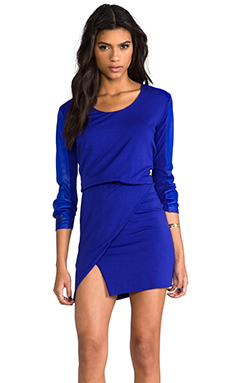 Mason by Michelle Mason Leather Sleeve Mini Dress in Royal