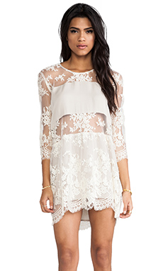 Mason by Michelle Mason Long Sleeve Mini Dress in Ecru