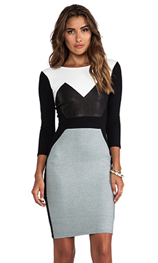 Mason by Michelle Mason Long Sleeve Dress in Grey Combo