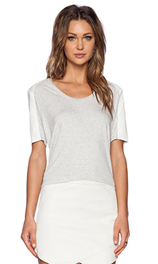 Mason by Michelle Mason Leather Sleeve Tee in Grey