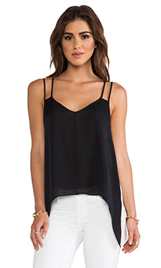 Mason by Michelle Mason Contrast Double Strap Cami in Black & Bone