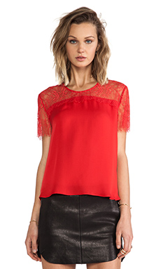 Mason by Michelle Mason Lace Yoke Tee in Red