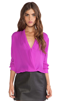 Mason by Michelle Mason Wrap Blouse in Fuschia