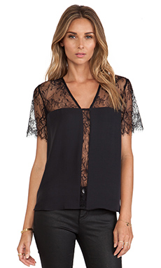 Mason by Michelle Mason Lace Top in Black