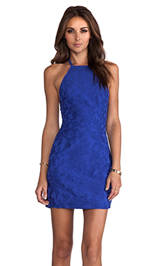 Maurie & Eve Illusion Dress in Cobalt Brocade